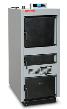 LASIAN MEGASOLID 70, caldera de pie de solo calefacción de leña de 70 Kw.,60.200 Kcal./h. longitud de troncos de 95cm, capacidad de troncos 402,9 dm3 (caldera de biomasa de leña)