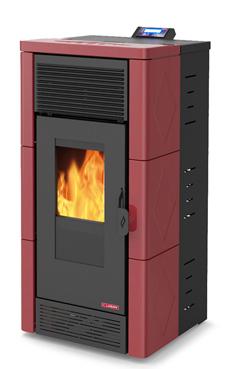 LASIAN STROMBOLI PLUS de  3,8 a 12 Kw. calentamiento mediante aire canalizable de 12 KW de potencia térmica máxima. Capacidad de calentamiento de 200 m3 (modelos en burdeos y beige)  con mando a distancia.
