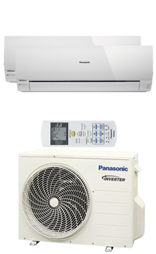 PANASONIC KIT 2RE99-RKE multi-split RE2x1 Inverter estándar Exterior:CU2RE18PBE Interiores: 2 CSRE9RKEW