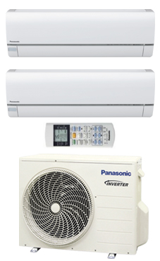 PANASONIC KIT 2E99-QKE multi-split Etherea 2x1 Inverter+ Exterior:CU2E18PBE Interiores: 2 CS-E9QKEW blanco.