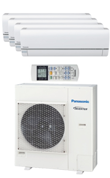 PANASONIC KIT 4E7777-QKE multi-split Etherea 4x1 Inverter+ Exterior:CU4E27PBE Interiores:4 CS-E7QKEW blanco.